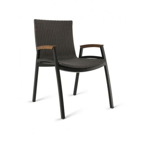 NORONHA STACKABLE ALUMINUM DINING ARM CHAIR