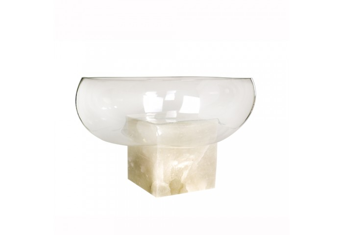 GRAVITY - Clear Glass/Alabaster Bowl