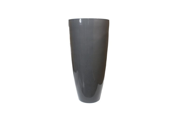 """TURIN 48"""" GLOSSY CHARCOAL PLANTER"""