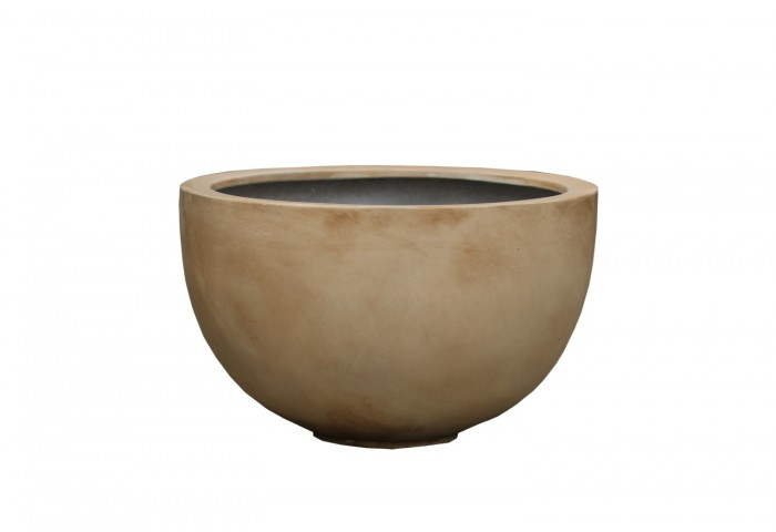 "SARDINIA 18""DIA WASHED BEIGE STONE ART FINISH PLANTER"