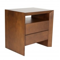 DESK-SMALL NIGHTSTAND WITH LEATHER FRONT