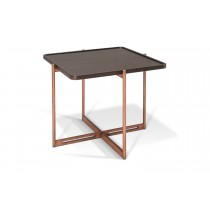 SOIE - Square End Table - Color Glass and Mirror Top