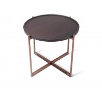 SOIE - Round End Table - Color Glass or Mirror Top