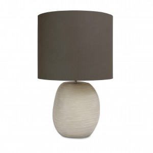 PATARA FROSTED GRAY GLASS SMALL TABLE LAMP - GRAY SHADE