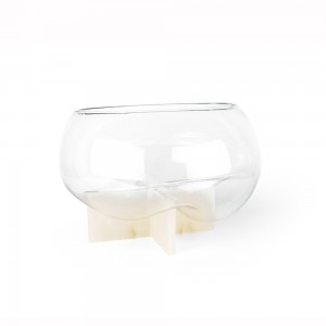 GRAVITY - Cross Design Alabaster Sculpture with a Clear Glass