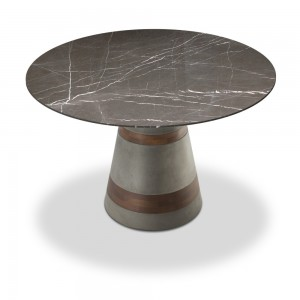 VULCANO - MARBLE TOP DINING TABLE AND PEDESTAL BASE
